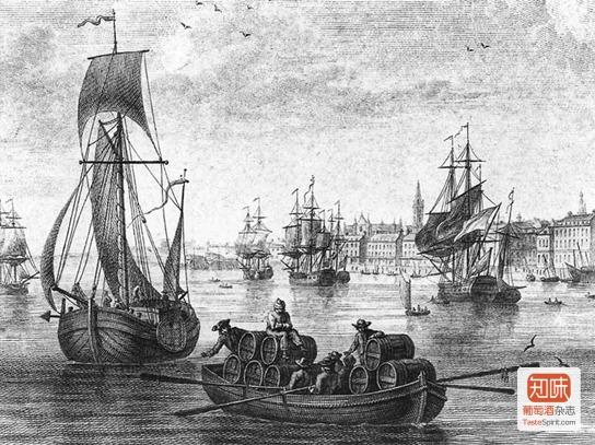 N. Ozanne绘于1776年的这幅《在号角城堡前看波尔多港》(Le Port de Bordeaux vu devant le Château-Trompette)展现了17-18世纪波尔多葡萄酒出口海外的景象