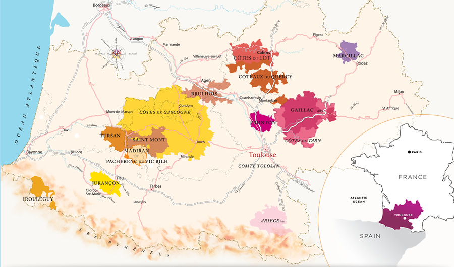 法国西南产区地图,图片来源:winesofsouthwestfrance
