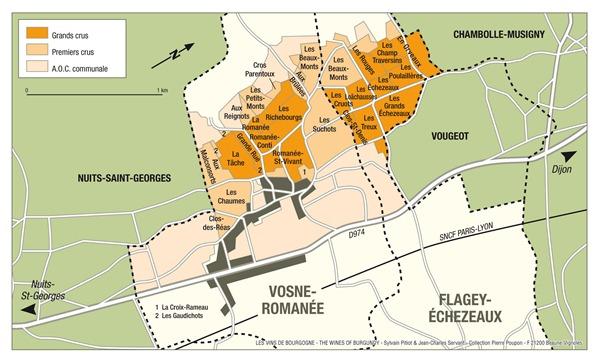 沃恩-罗曼尼(Vosne-Romanée)的清晰地图(点击放大),来源:Sylvain Pitiot & Jean-Charles Servant