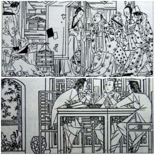 潘金莲斜依门框,嗑着瓜子吸引浮浪子弟(上),玉楼,李瓶儿,潘金莲三人嗑瓜子唠嗑(下)