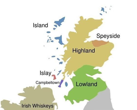 苏格兰威士忌产区地图