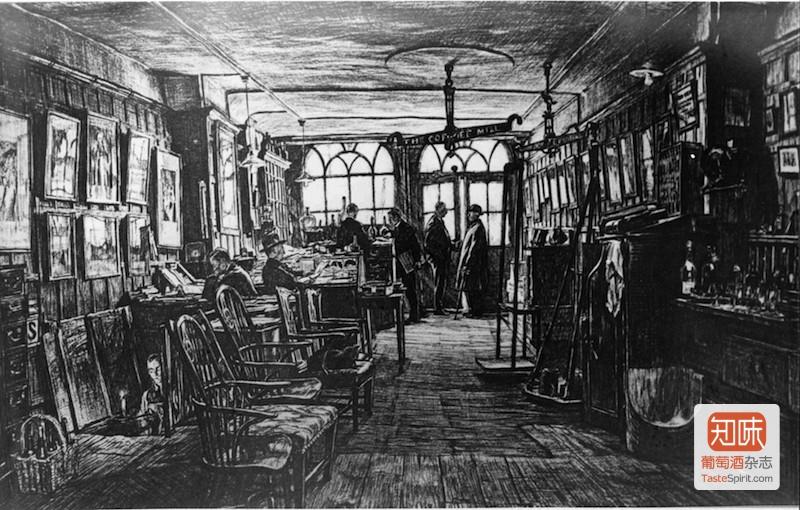 Berry Bros & Rudd保留的19世纪店内素描