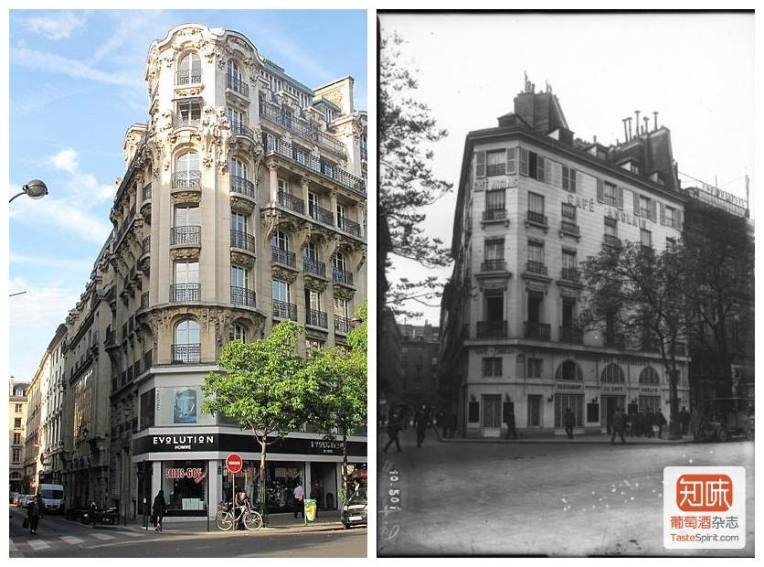 1913年拆除之前的英国咖啡馆和2009年的原址街景(右),图片来源:法国国家图书馆