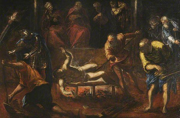 这幅表现圣洛伦佐受难的画作来自开巴洛克先河的大师之一丁托列托。可以试着感受丁托列托戏剧化的明暗对比,以及像围绕注意力中心像一个漩涡那样展开的构图