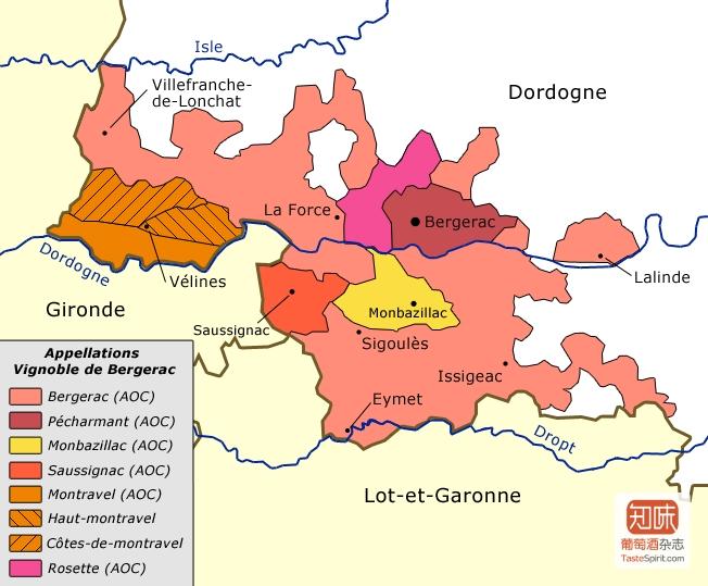 贝尔热拉克产区地图