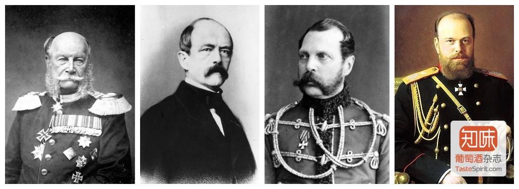 出席盛宴的三位皇帝和一位首相,左起:普鲁士国王(未来的德意志皇帝)威廉一世,普鲁士首相俾斯麦,俄国沙皇亚历山大二世和其皇太子(将来的沙皇亚历山大三世)
