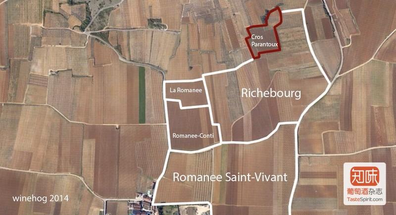 克罗-帕宏图一级田(Cros Parantoux)在沃恩-罗曼尼(Vosne Romanée)的位置,图片来源:winehog.com