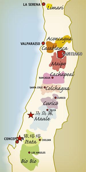 智利产区分布图,加星号的是马乌莱和依塔塔