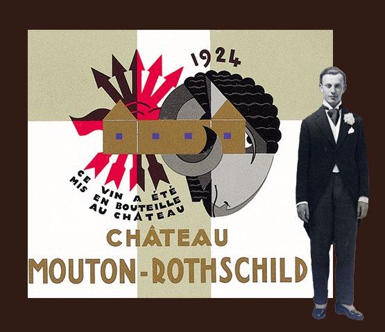 1924年的木桐酒标,和时年22岁的男爵