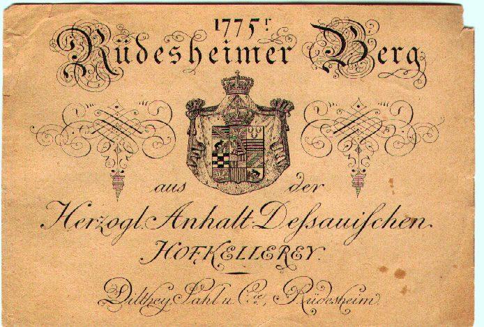 一张1775年的德国酒标
