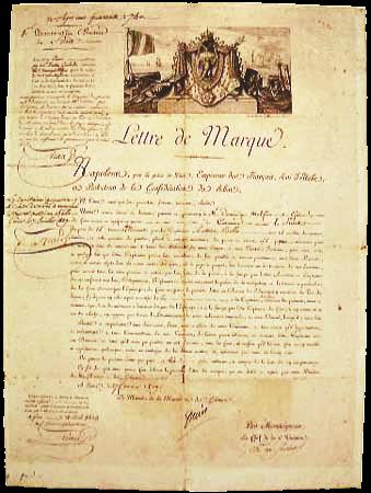 法兰西第一帝国颁授的私掠许可证,1809年