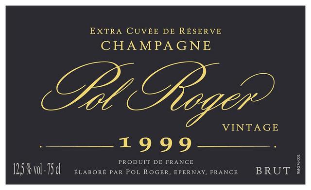 一款典型的香槟酒标:Pol Roger 1999年份香槟