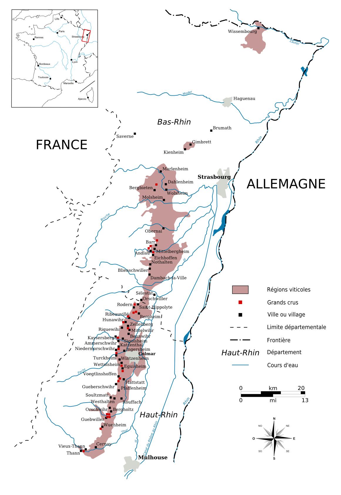 阿尔萨斯产区地图,红色点为特级园,点击查看大图