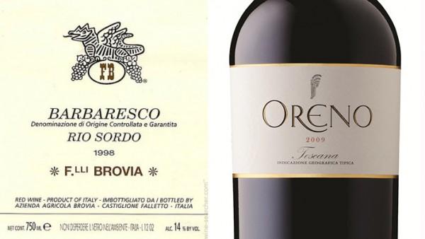 左图:请注意Barbaresco下方的Denominazione di Origine Controllata e Garantita;右图:请注意Oreno的位置。