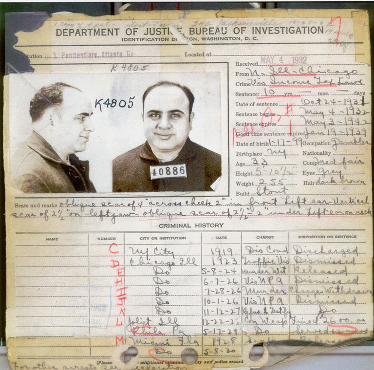 FBI公开的Al Capone犯罪档案,仅他亲手执行的谋杀案就超过30项