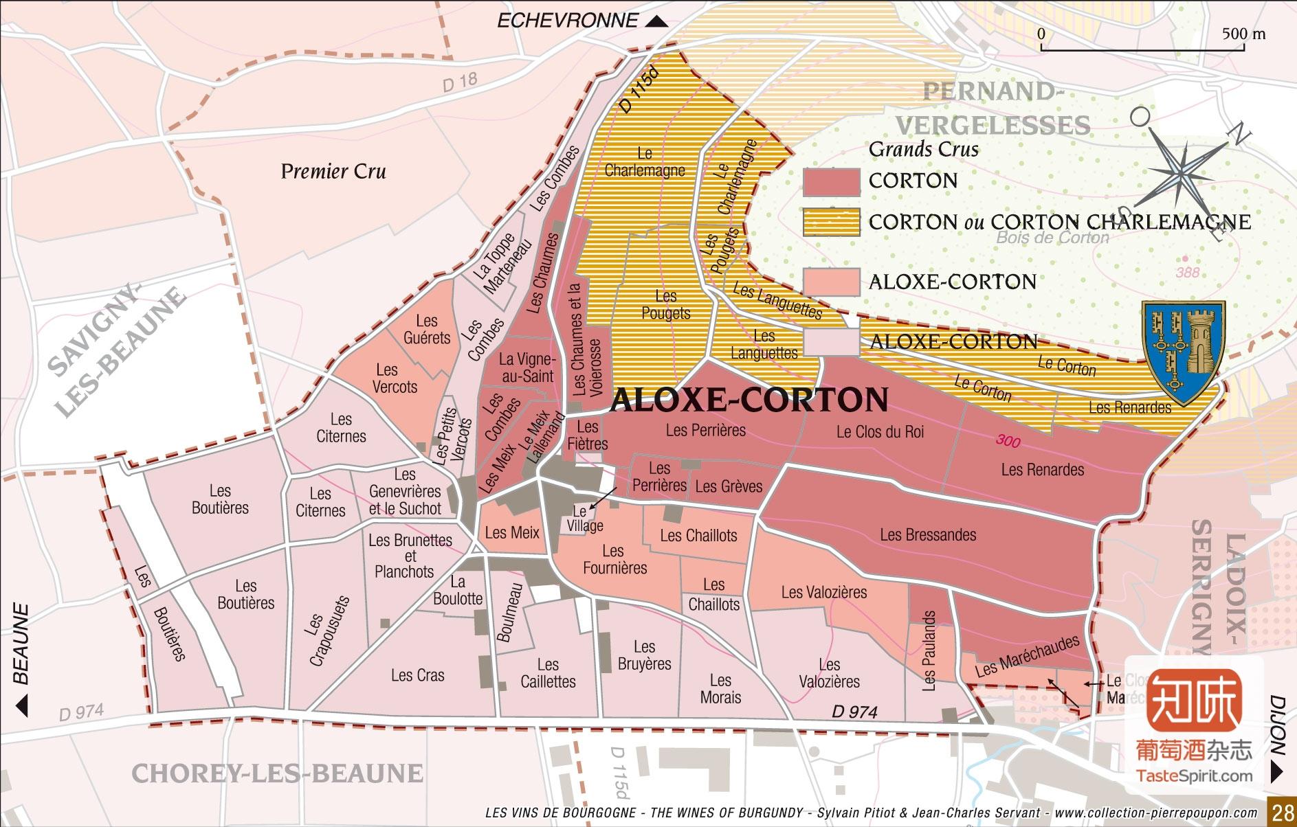 Aloxe-Corton产区图,白色为白葡萄酒分布,点击查看大图