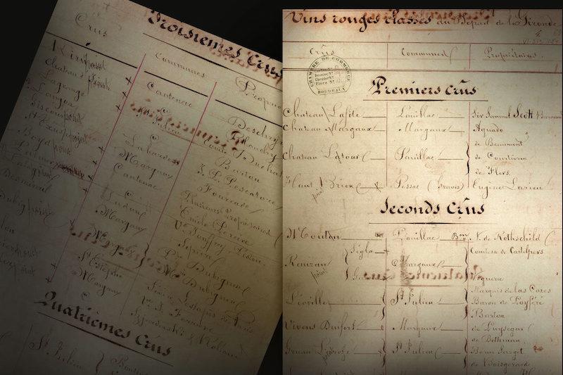 1855年分级的历史手稿
