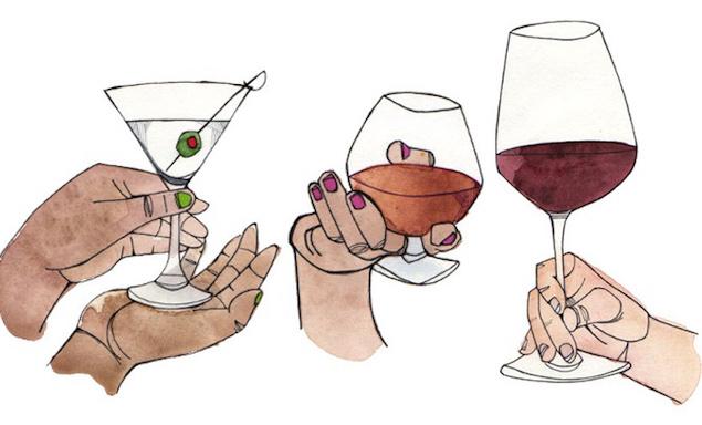 各种酒杯的拿法。图片来源:honestcooking.com