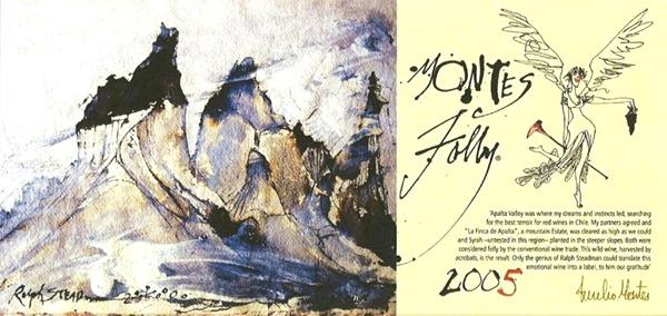 由英国画家 Ralph Steadman绘制的蒙特斯富乐 Montes Folly 2005年份酒标,来源:Montes