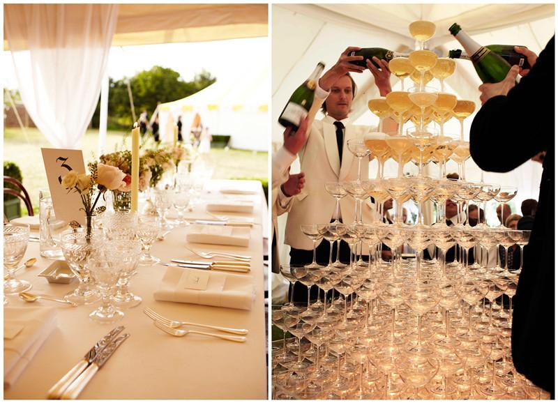 婚礼餐桌的布置和高高的香槟塔,图片来源:Vogue