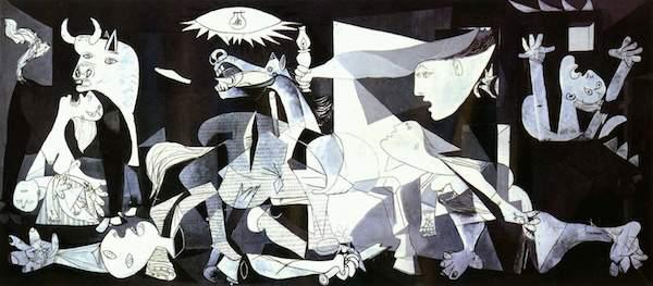 毕加索的名作《格尔尼卡》,描绘了经受炸弹蹂躏之后的西班牙格尔尼卡城。