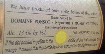 Domaine Ponsot在酒标上采用的的温度指示圆点
