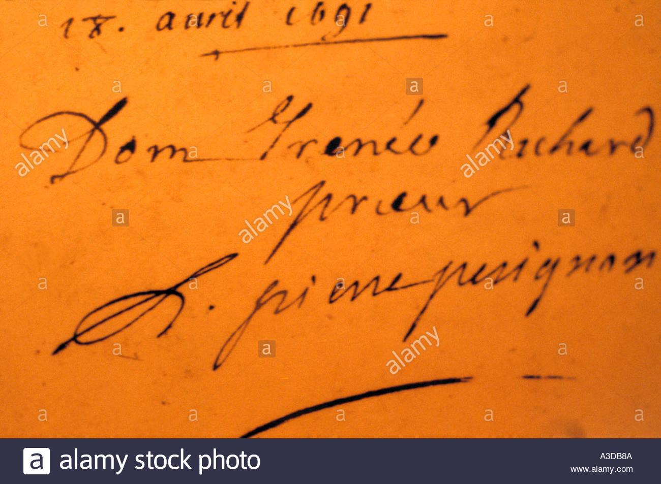 唐培里侬的签名